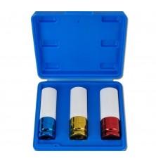 Rinkinys smūginių plonasienių  galvučių su plastikinėm apsaugom 3vnt 17-19-21mm