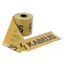 """Juosta apsauginė poliet.""""KABELIS""""geltona (23cmx100m) 1 rulonas"""
