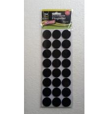 Padukai baldų kojoms, juodi, apvalūs 28mm, 24vnt