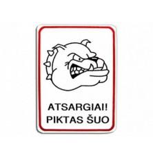 Plastikinė lentelė baltas Piktas šuo