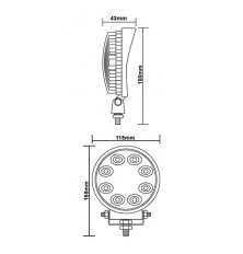 Žibintas 8-i LEDAI 10-30V 1vnt. E8 (apvalus)