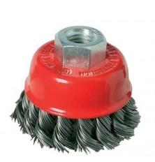Šepetys vielinis puodo tipo ,stambus plienas susuktas 100mm,M14
