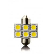 LED Lemputė 2vnt automobilinė 12V 31mm,SV8,5 6led