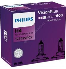 Lemputė H4 12V 2vnt. 60/55W +60% VisionPlus Philips
