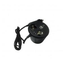 Lizdas dvigubas +USB lizdas+akumuliatoriaus indikatorius 12 V