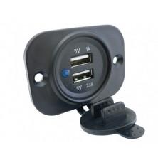 Lizdas  2 x USB-2,1A  12V/24V dvigubas