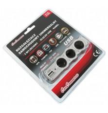 Lizdas trigubas +USB lizdas 12V