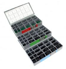 Įvairių guminių tarpinių-manžetų rinkinys su stovu (metrinės, colinės, žalios) 900 vnt