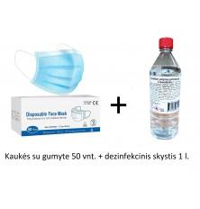 Kaukės su gumyte 3sl. 50vnt. + Dezinfekantas spiritinis 1 l.