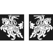 Lipdukas Vytis 2 vnt veidrodinis BALTAS BLIZGUS 26x26cm