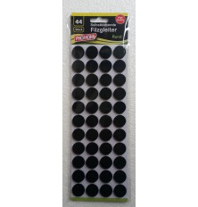 Padukai baldų kojoms, juodi, apvalūs 20mm, 44vnt
