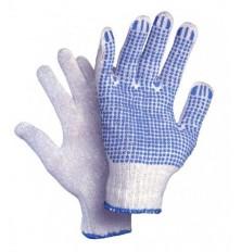 Pirštinės trikotažinės 10dydis  su PVC taškeliais ,mėlynos sp.